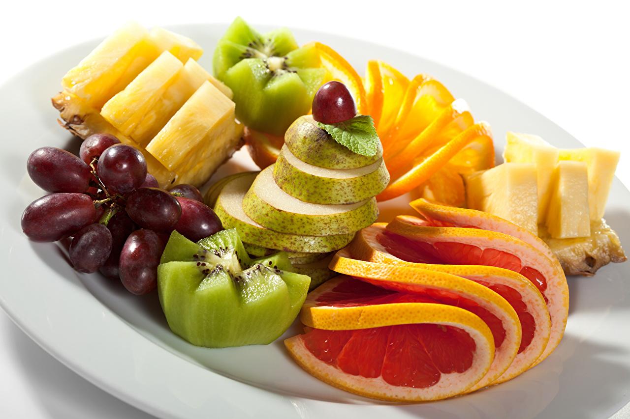 Bilder von Kiwi Ananas Birnen Weintraube Obst Lebensmittel Zitrusfrüchte Kiwifrucht Chinesische Stachelbeere