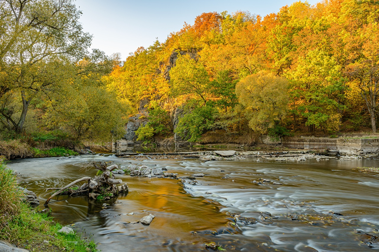 Photo Autumn Nature Forests stone Rivers forest river Stones
