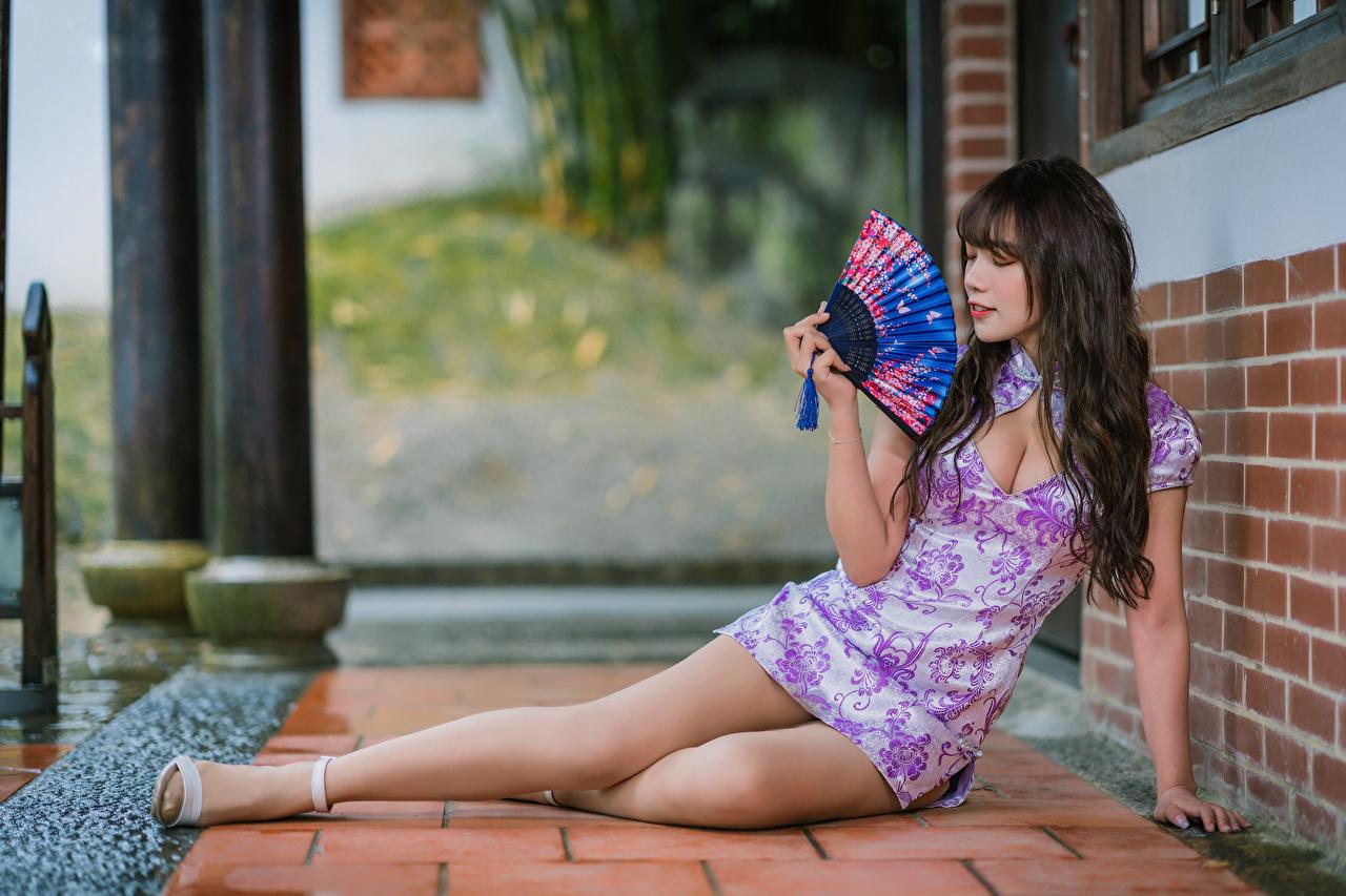Bilder Brunett tjej Solfjäder ung kvinna Ben Asiater Klänning Unga kvinnor asiatisk