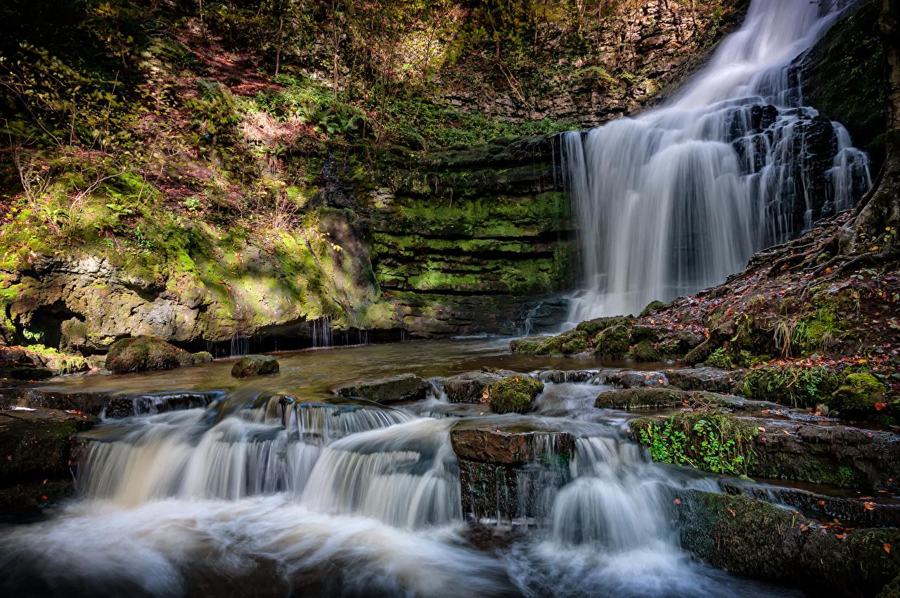 Wallpaper England County Durham Crag Nature Waterfalls Moss Rock Cliff