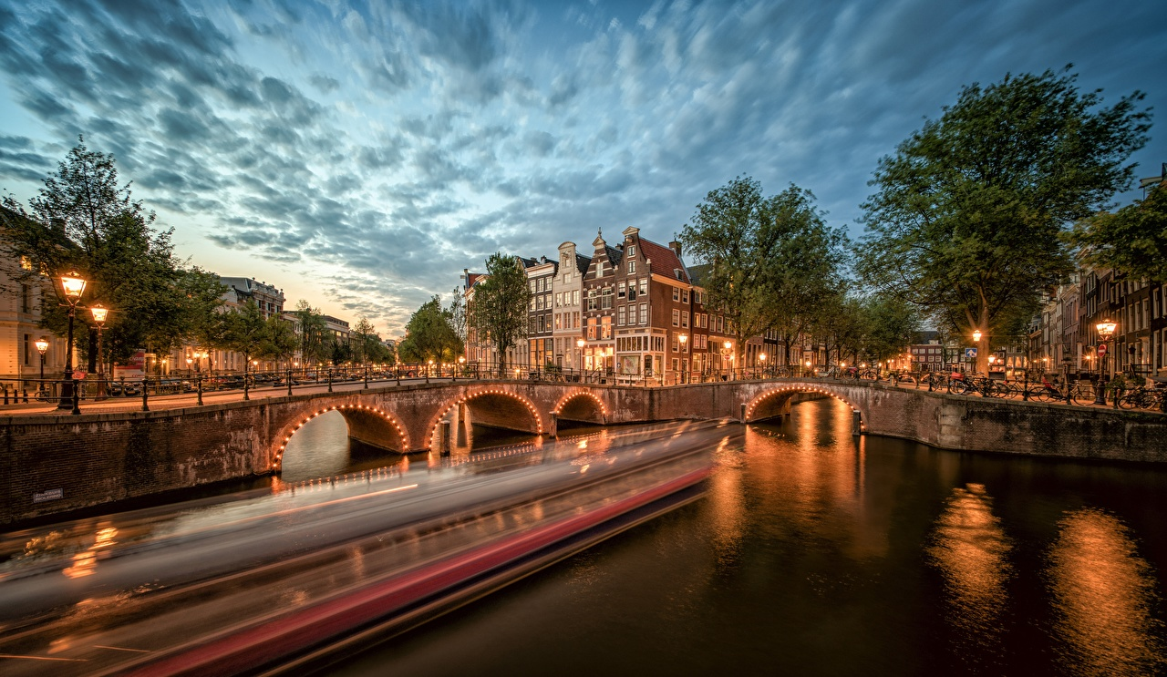 Pictures Amsterdam Netherlands Canal bridge Rivers Evening Cities Bridges river