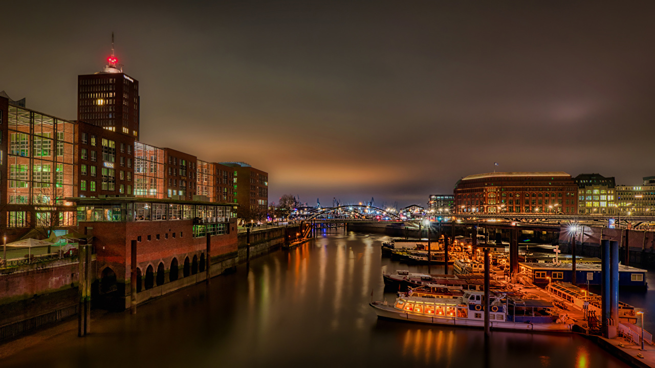 Images Hamburg Germany Riverboat river Marinas night time Street lights Houses Cities Pier Berth Night Rivers Building