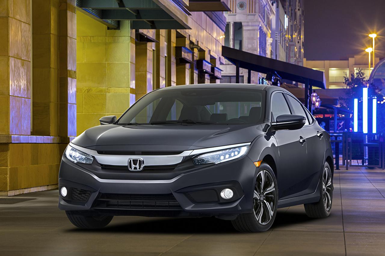 Honda 2016 Civic Sedan Touring Cinza carro, automóvel, automóveis Carros