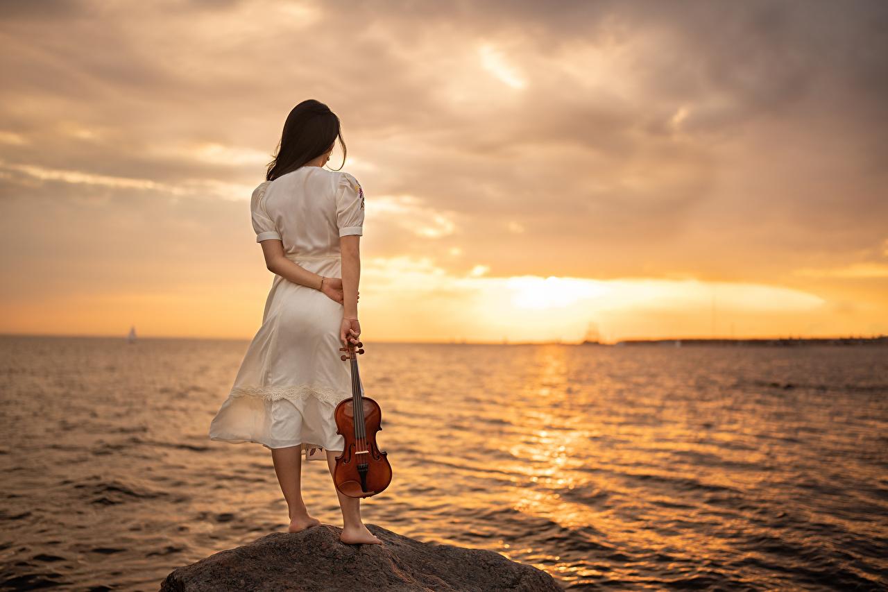 Bilder von Violine Yaroslav Kotov Meer Natur junge frau Sonnenaufgänge und Sonnenuntergänge Stein Kleid Mädchens junge Frauen Morgendämmerung und Sonnenuntergang Steine