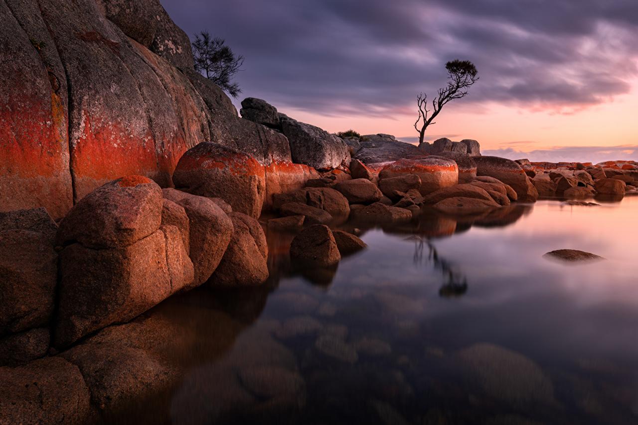 Photos Australia Bay of Fires Cliff Nature Stones Evening Crag Rock stone
