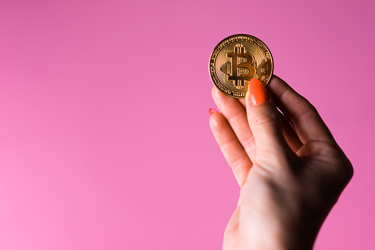 Wallpaper Coins Bitcoin Manicure Hands Colored background