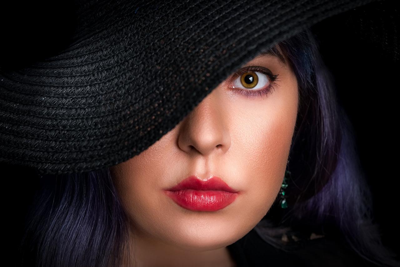 Desktop Hintergrundbilder Augen Schminke Maria, Nikolay Bobrovsky Der Hut Gesicht Mädchens Lippe Starren Make Up junge frau junge Frauen Blick