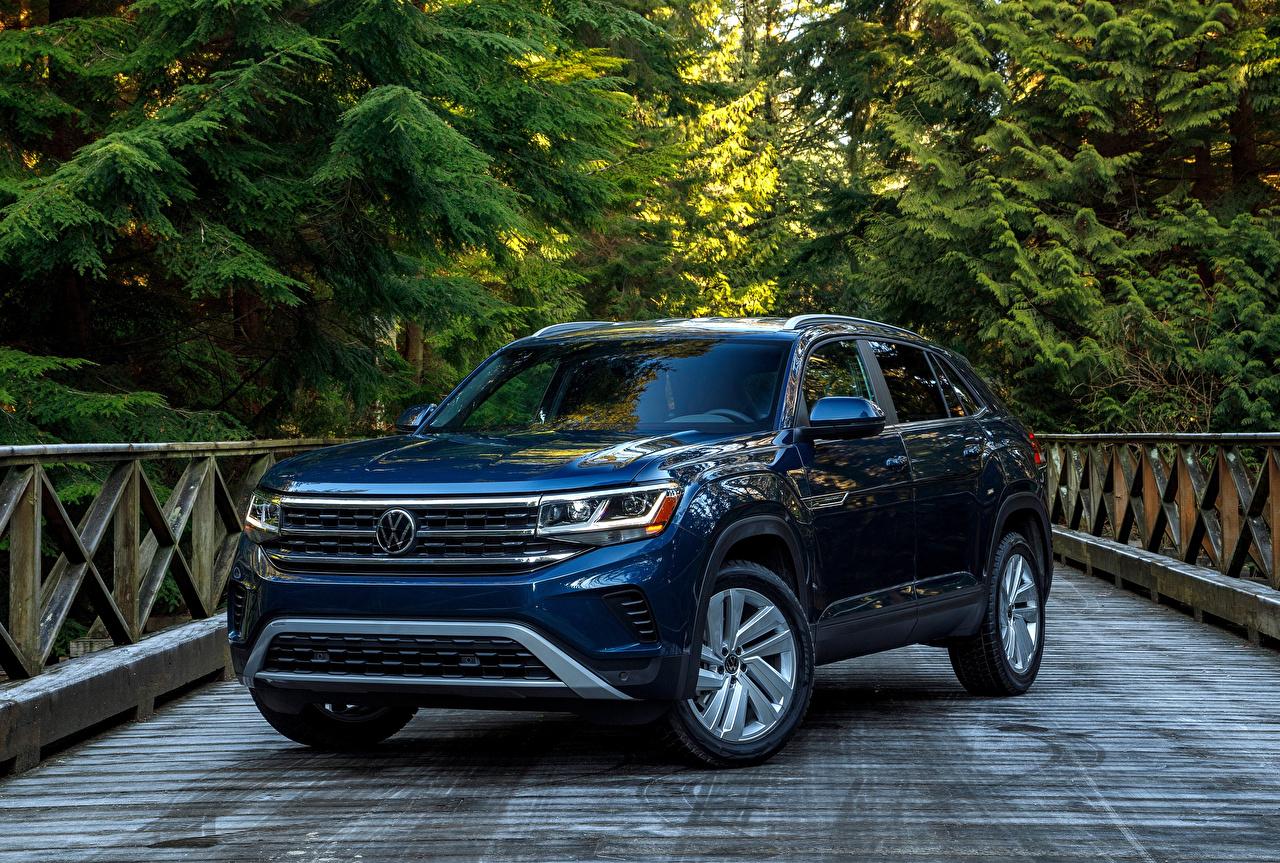 Photos Volkswagen Crossover 2020 Atlas Cross Sport SE Blue Cars Metallic CUV auto automobile