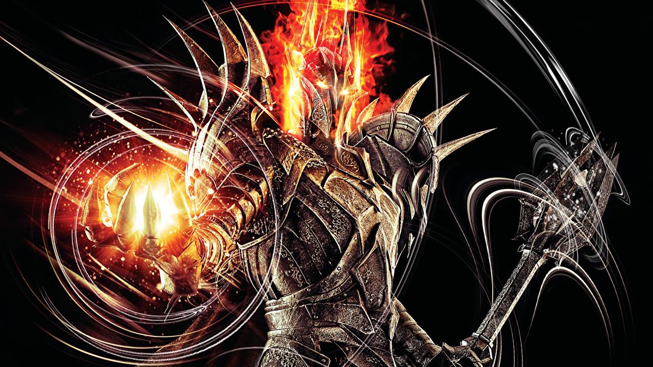 Bilder The Lord of the Rings - Games Magi Rustning Hjelm krigere Sauron Fantasy Dataspill Kriger videospill