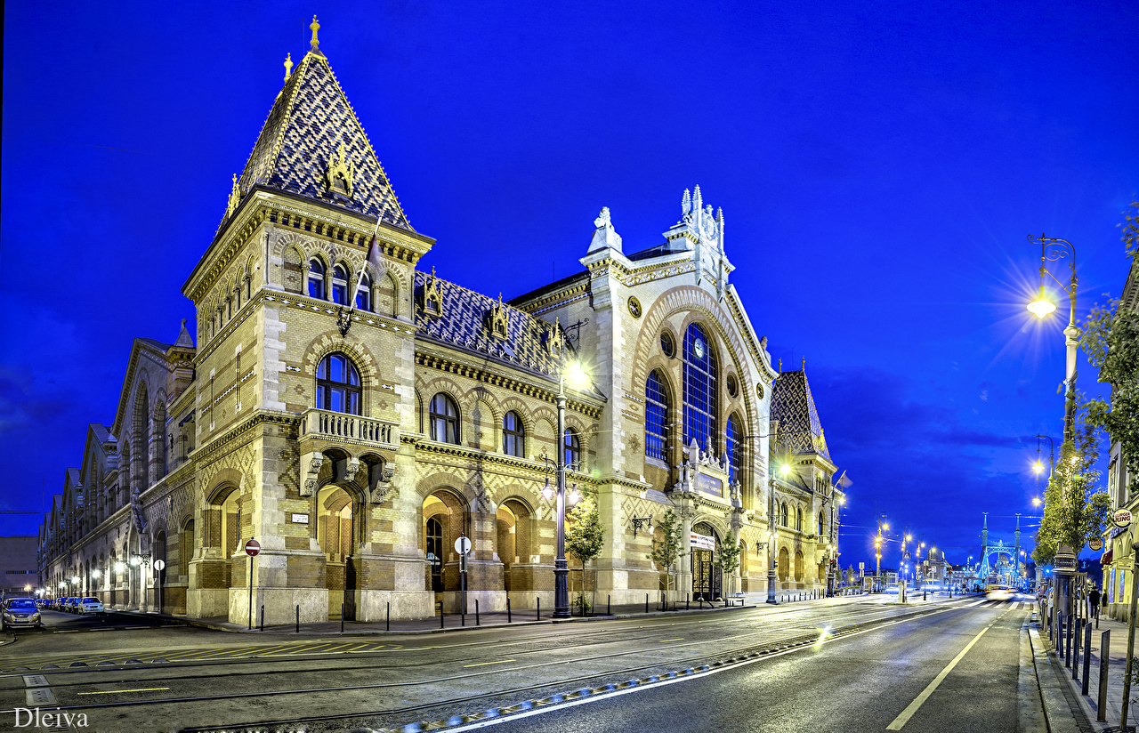 Picture Budapest Hungary Street Night Street lights Houses Cities night time Building