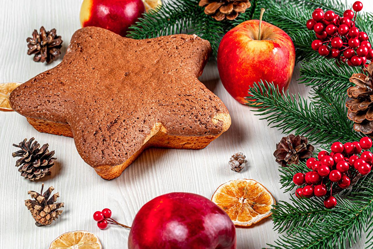 壁紙 新年 ベリー クッキー りんご 枝 松かさ スターの装飾