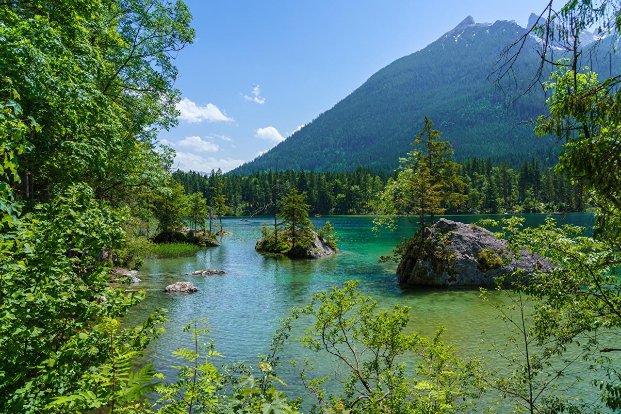 壁紙 ドイツ 山 湖 森林 石 バイエルン州 枝 自然