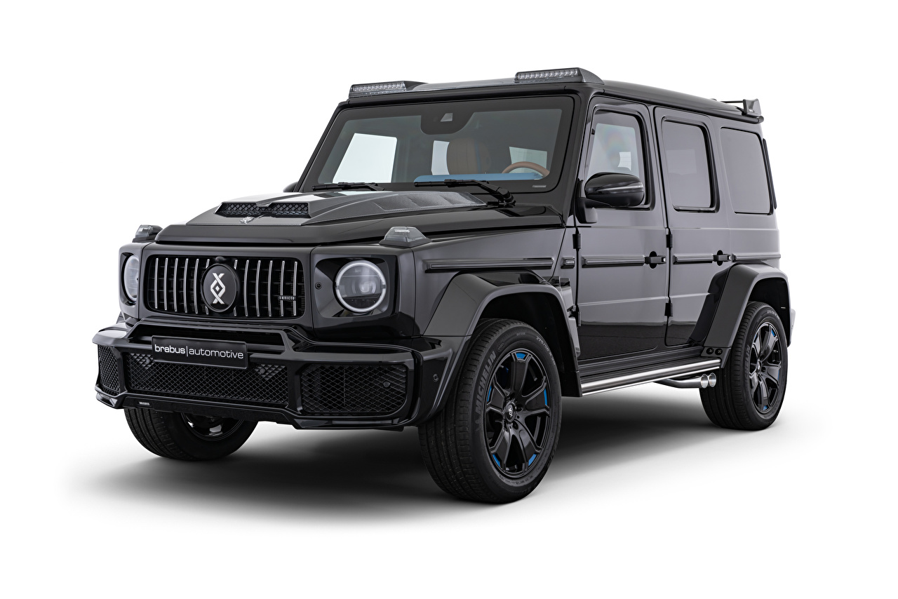 Images Mercedes-Benz G-Wagen SUV 2020 Brabus Invicto VR6 Plus ERV Luxury Black Cars White background G-Class Sport utility vehicle auto automobile