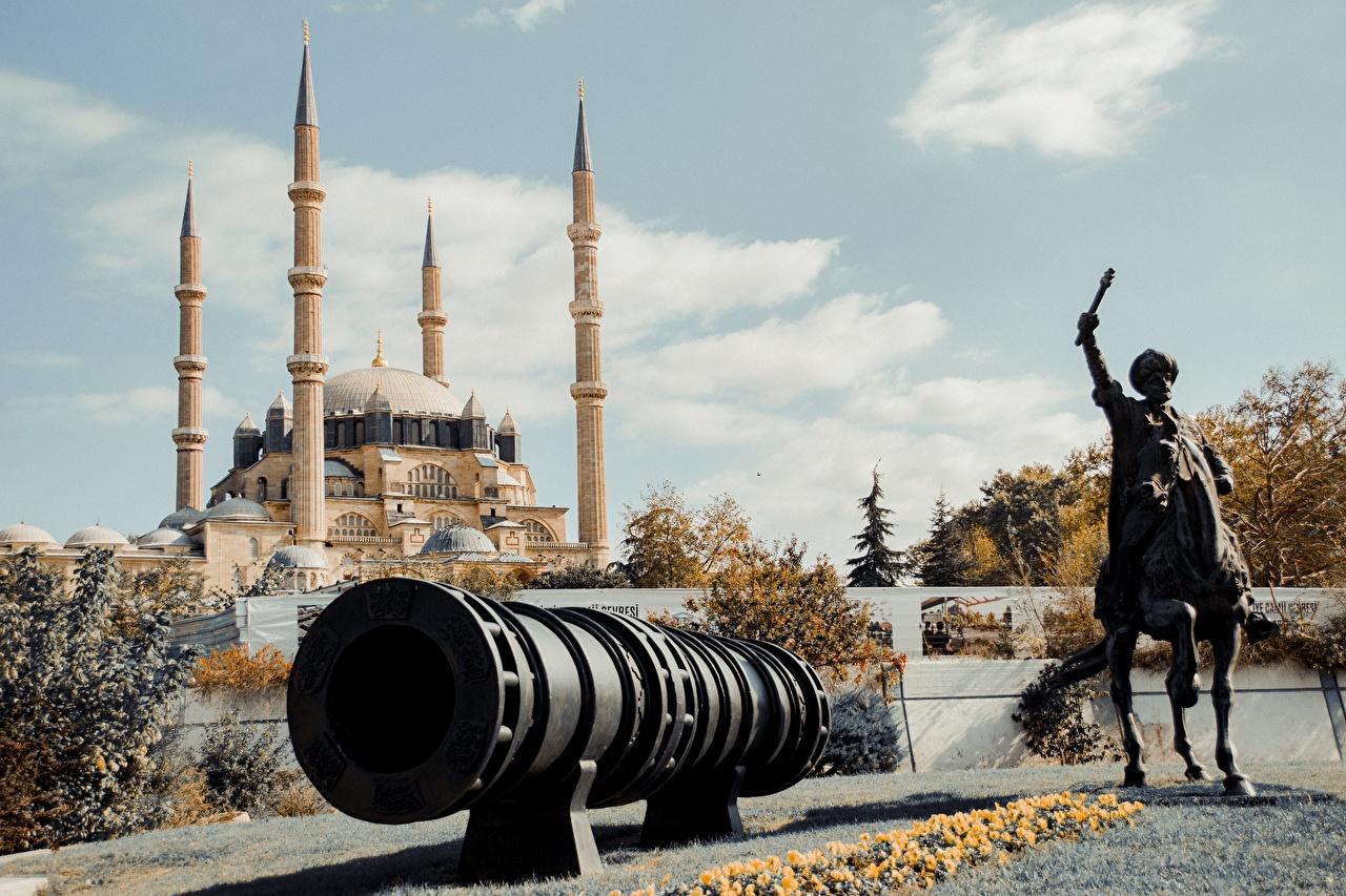 Фотография Мечеть лошадь Пушки Турция Selemiye Mosque, Edirne Города Скульптуры Лошади город скульптура