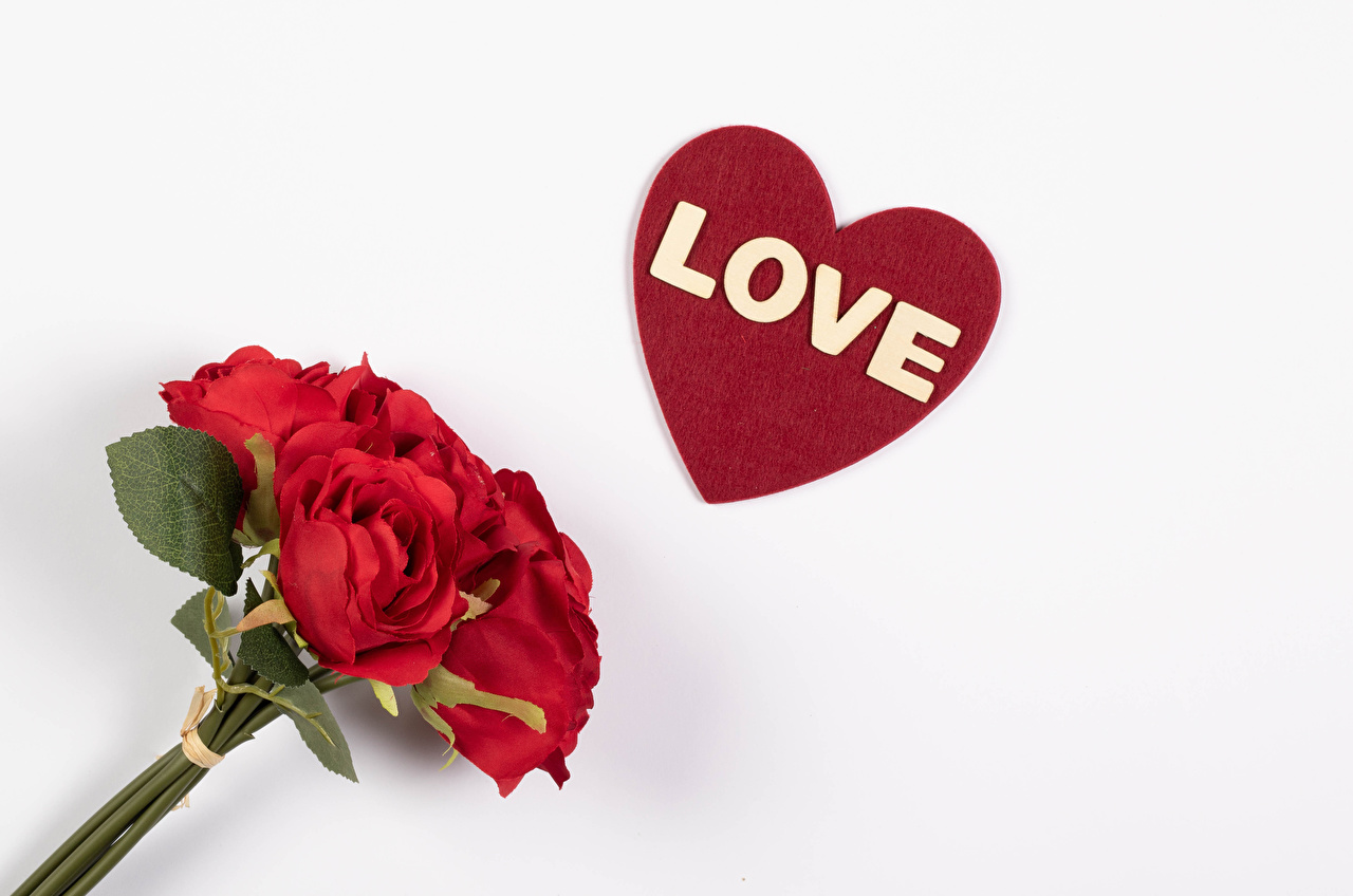 Pictures Valentine's Day English Heart bouquet Red Roses flower lettering White background Bouquets rose text Flowers Word - Lettering