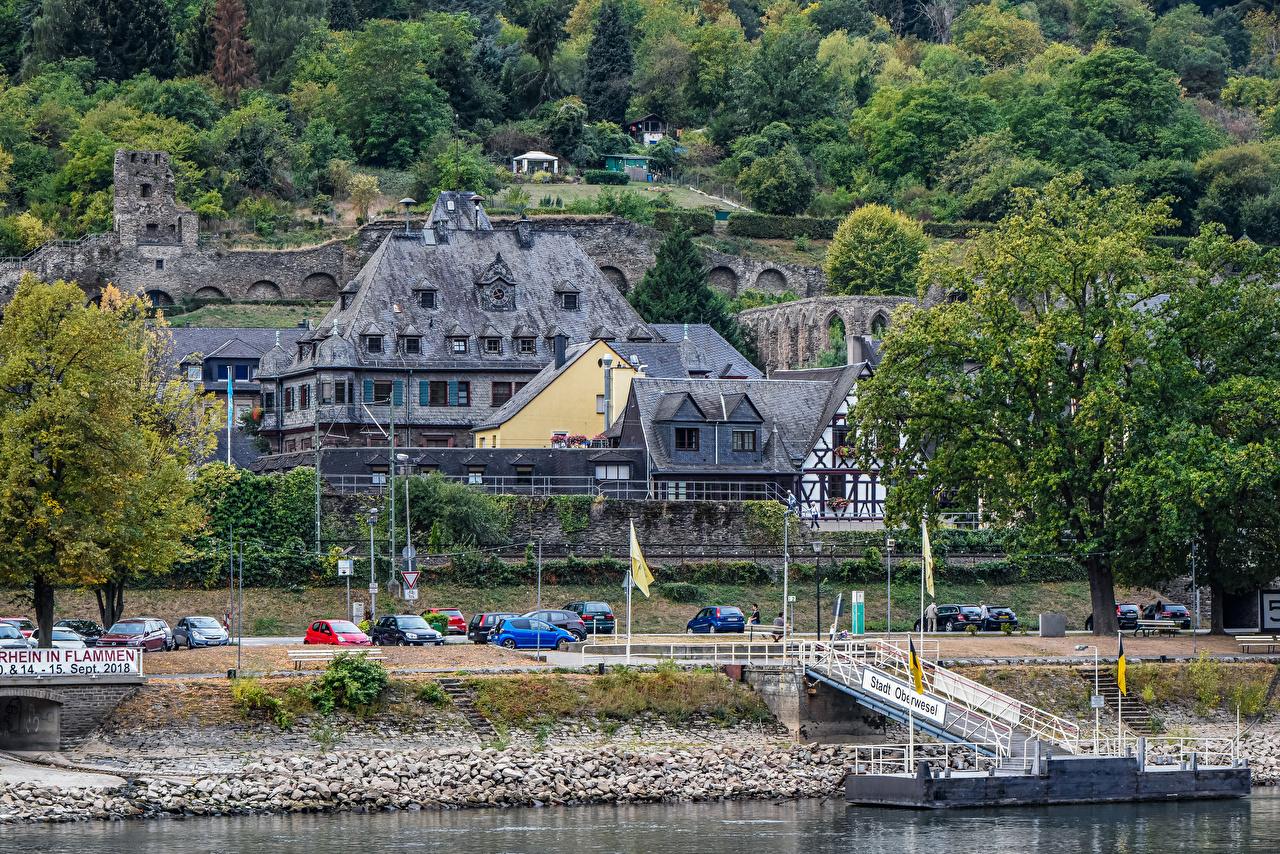 Alemania Casa Ríos Amarradero Oberwesel Rhine River árboles río, Edificio, Atraque Ciudades