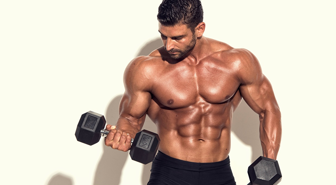 Desktop Wallpapers Men Muscle Sport Dumbbells Bodybuilding Belly Hands
