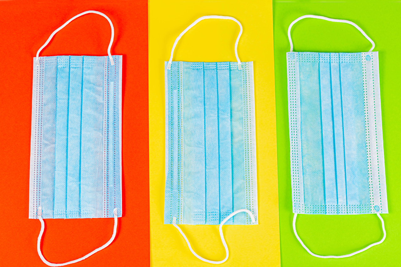 Photo Coronavirus Masks Three 3 Colored background