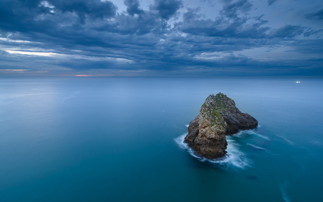 Picture Sea Crag Nature Clouds Rock Cliff