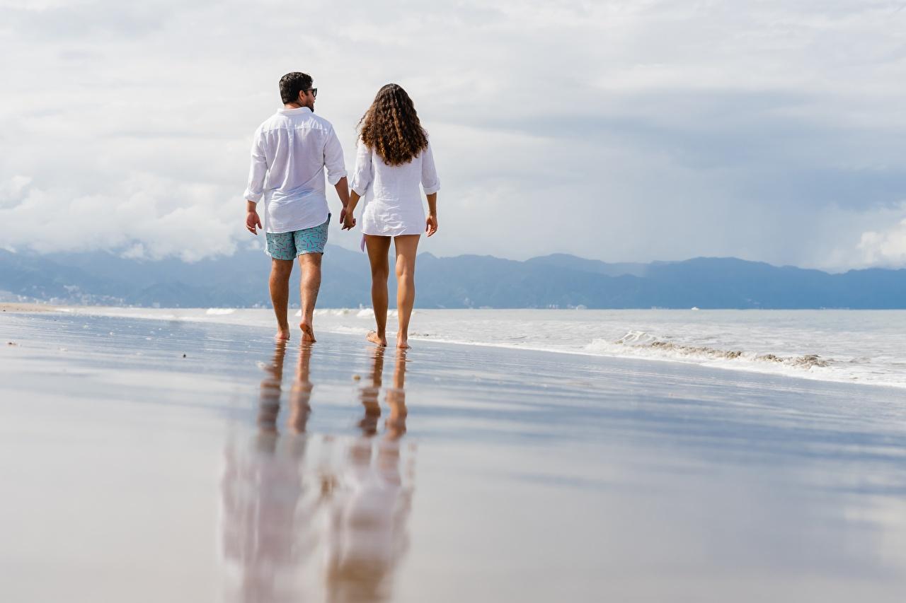 Images Man Beach Sea Two walk Men beaches 2 Stroll Walking