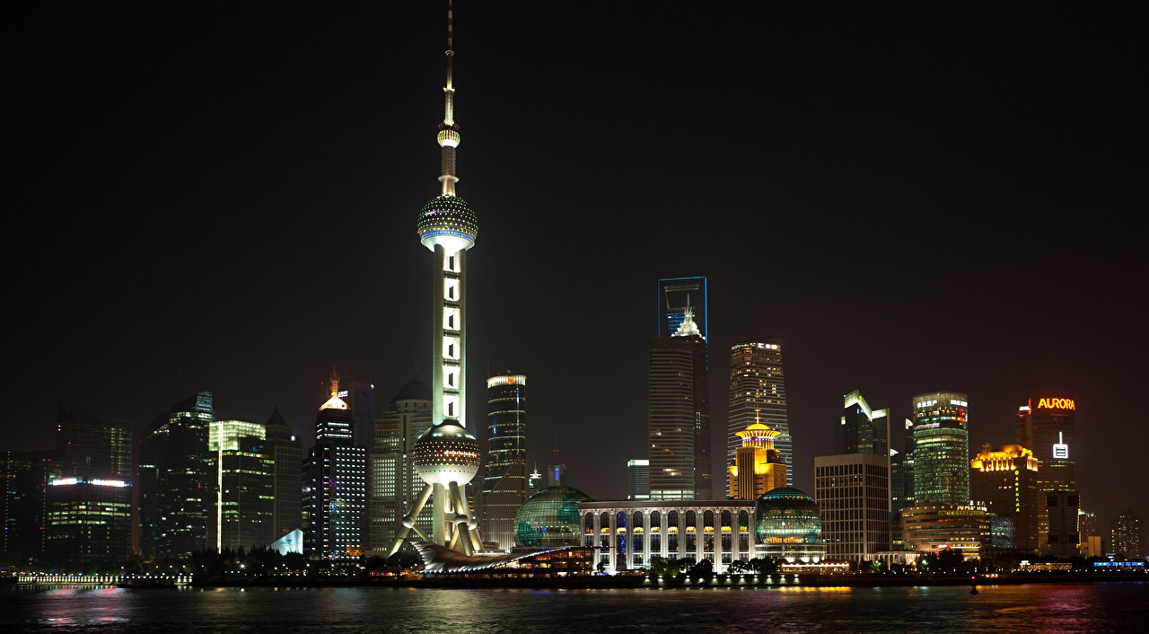 Picture Shanghai China Tower Night Skyscrapers Houses Cities towers night time Building