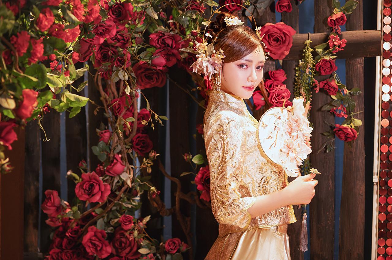 Fotos Rose Mädchens Asiatische Blick Kleid Schmuck Rosen junge frau junge Frauen Asiaten asiatisches Starren