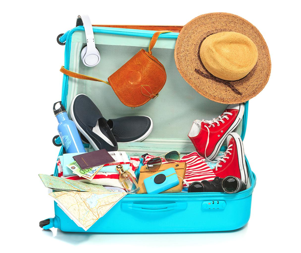 Photos Tourism Headphones Plimsoll shoe Hat Suitcase Handbag White background purse