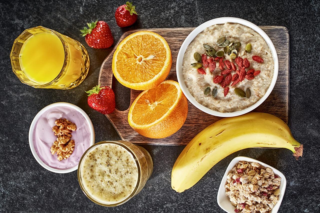 Fotos von Smoothie Apfelsine Fruchtsaft Frühstück Trinkglas Müsli Lebensmittel Saft Orange Frucht das Essen