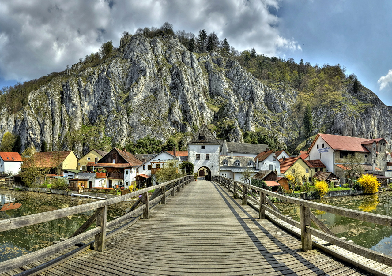 Photos Bavaria Germany Essing HDR Crag bridge Wooden Cities Rock HDRI Cliff Bridges from wood