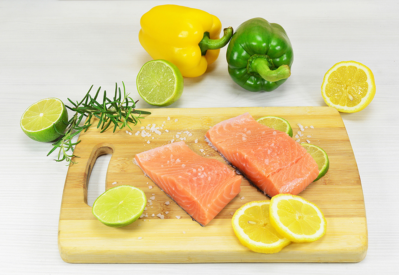 Image Lime Salmon Salt Lemons Fish - Food Food Bell pepper Cutting board