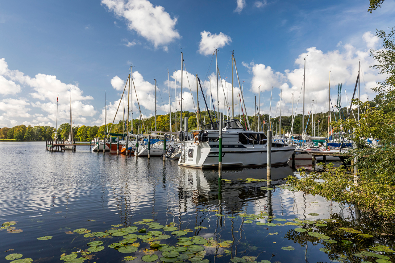 Photos Berlin Germany Tegeler See Nature Sky Lake Yacht Clouds