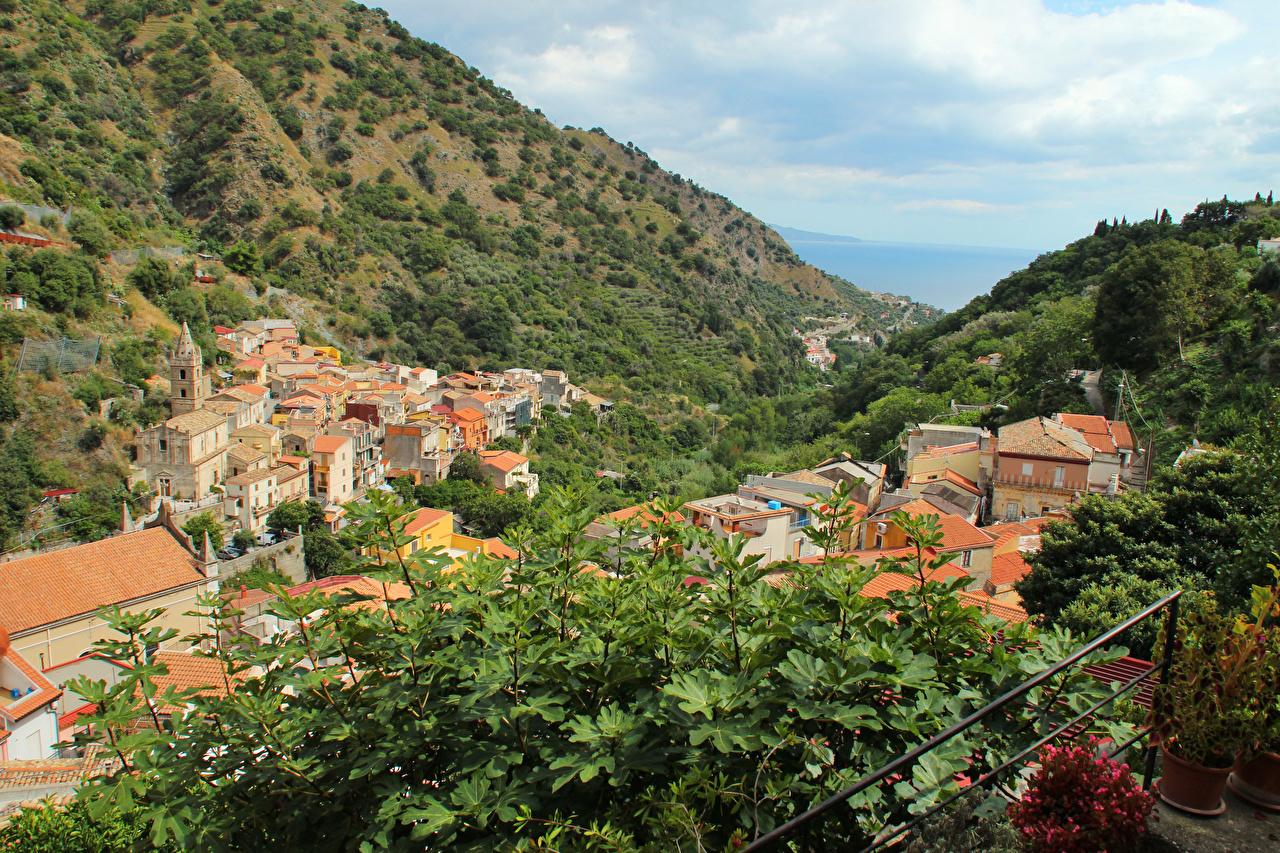 Itália Sicília Casa Montanhas Galho montanha, Edifício Cidades