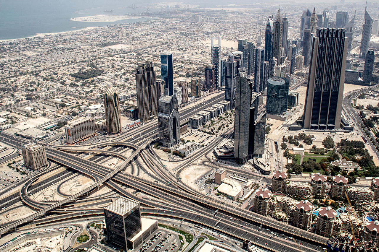 Picture Dubai Emirates UAE Roads From above Skyscrapers Cities