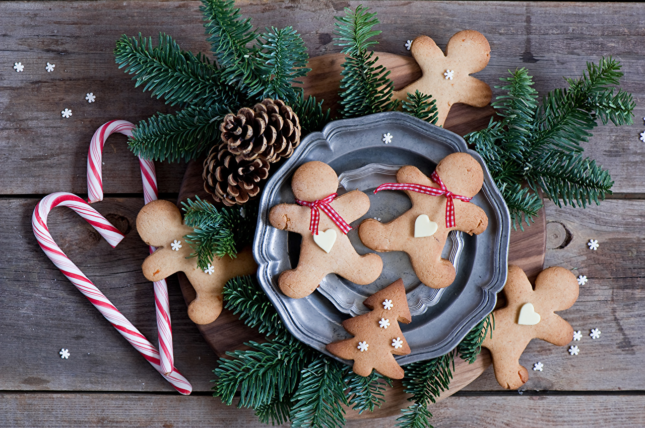 Photos New year Food Cookies Branches Pine cone Sweets Christmas Conifer cone confectionery