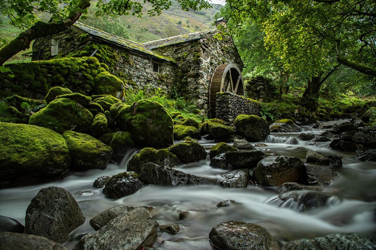 Fotos von England Wassermühle Lake District, Cumbria Natur Park Flusse Steine Laubmoose Bäume Parks Fluss Stein