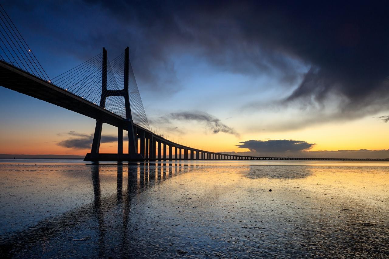 ,傍晚,橋,葡萄牙,里斯本,Vasco da Gama bridge,,城市,