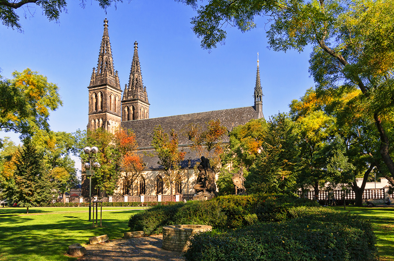 Image Prague Church Monuments Vysehrad Park and Basilica of St Peter and St Paul Parks Temples Street lights Bush Cities park temple Shrubs