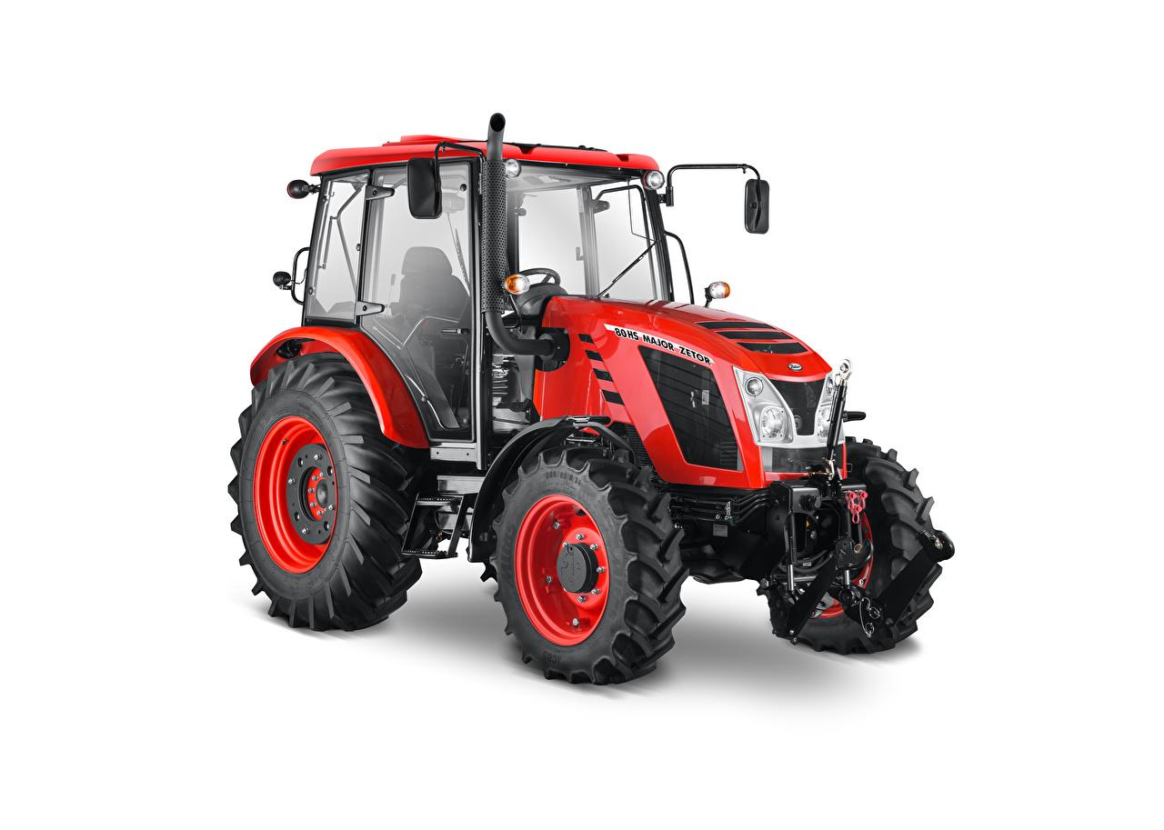 Фотография трактора Zetor Major HS 80, 2016–18 Красный белым фоном Трактор тракторы красная красные красных Белый фон белом фоне