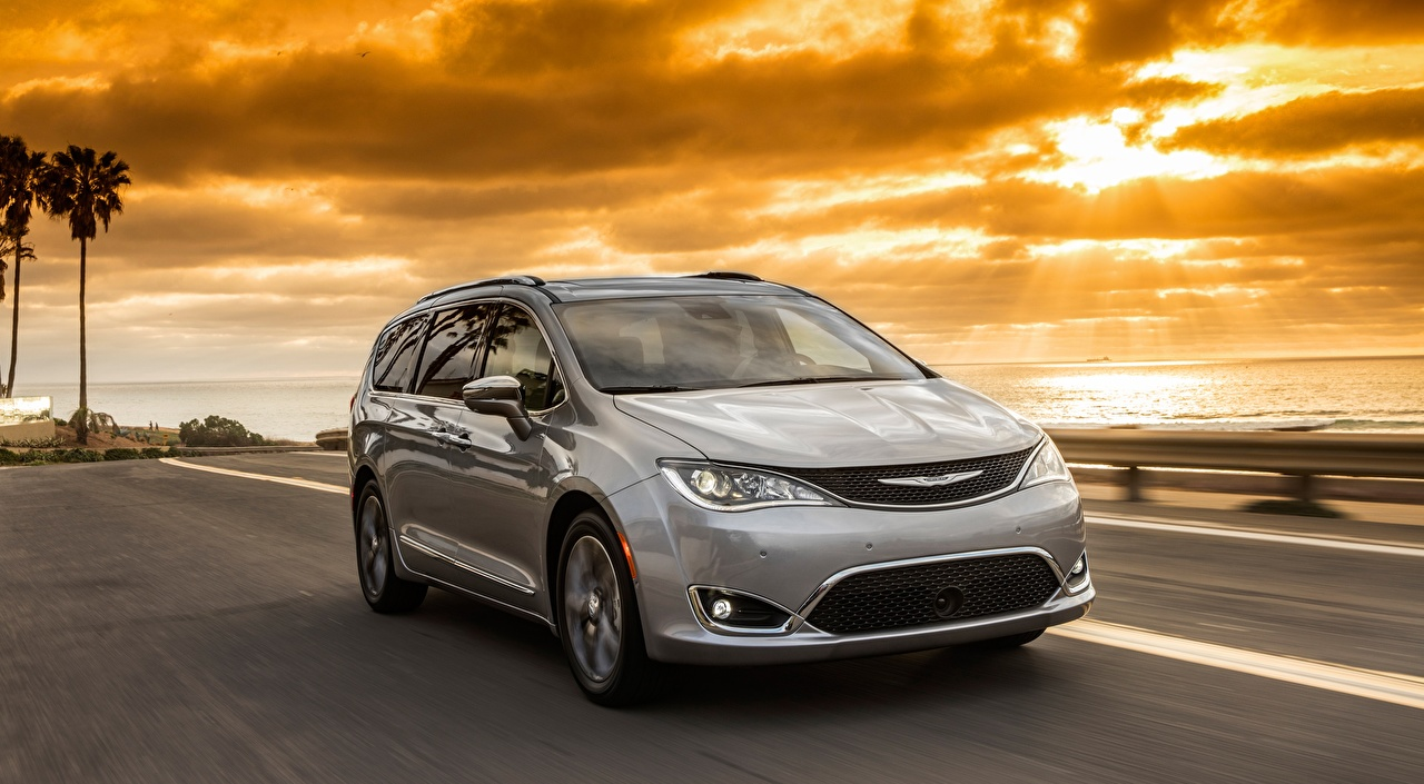 Wallpaper Chrysler Pacifica 3.6 AT, Hybrid Limited, 2016 Minivan Silver color moving sunrise and sunset Asphalt automobile riding Motion driving at speed Sunrises and sunsets Cars auto