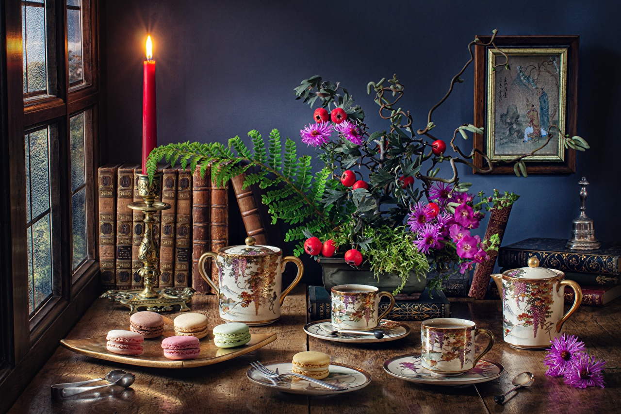 Picture Macaron Bouquets Tea Cup Food Table books Candles Cookies Still-life french macarons bouquet Book