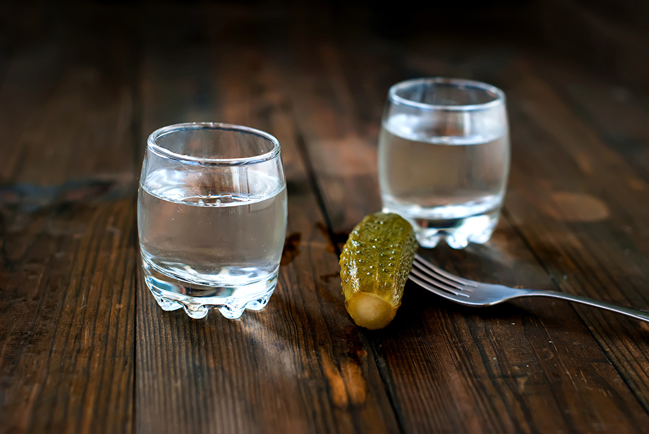 Photos Two Vodka Cucumbers Food Fork Shot glass Drinks