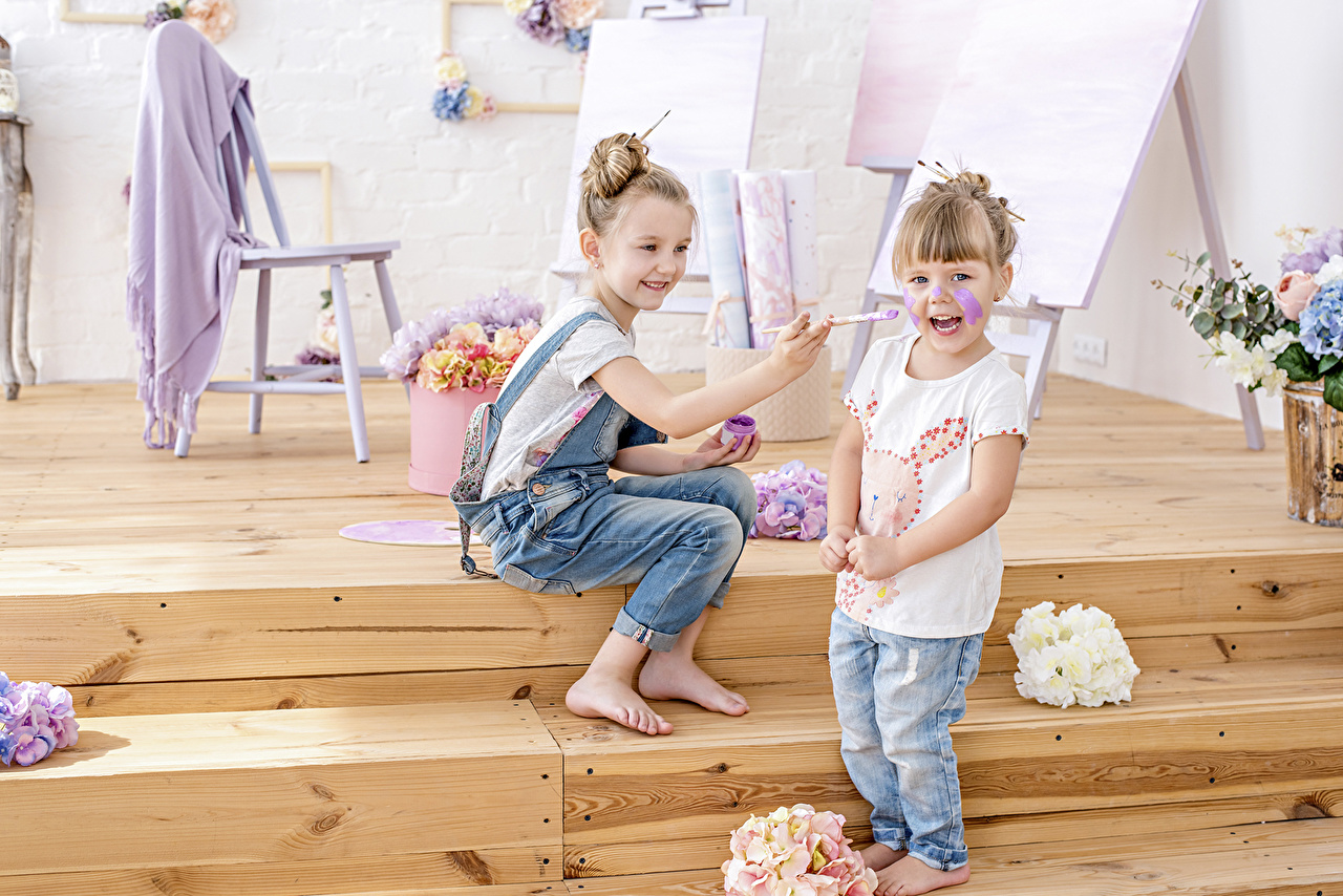 Photo Little girls Smile laugh Children Two Jeans laughs Laughter child 2