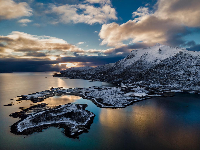 Image Lofoten Norway Nature Mountains Coast Clouds mountain