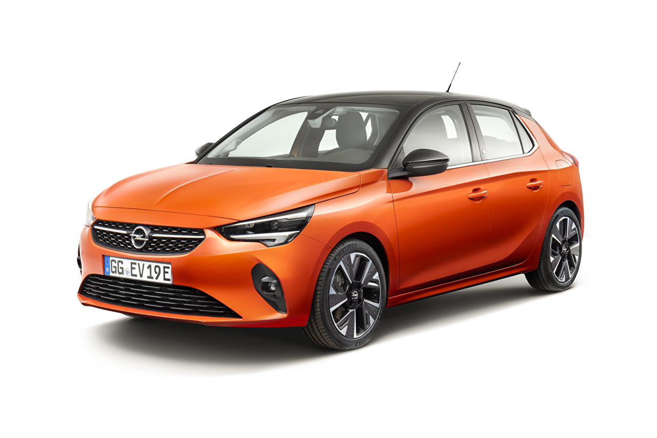 Pictures Opel 2019-20 Corsa-e Orange Cars White background auto automobile
