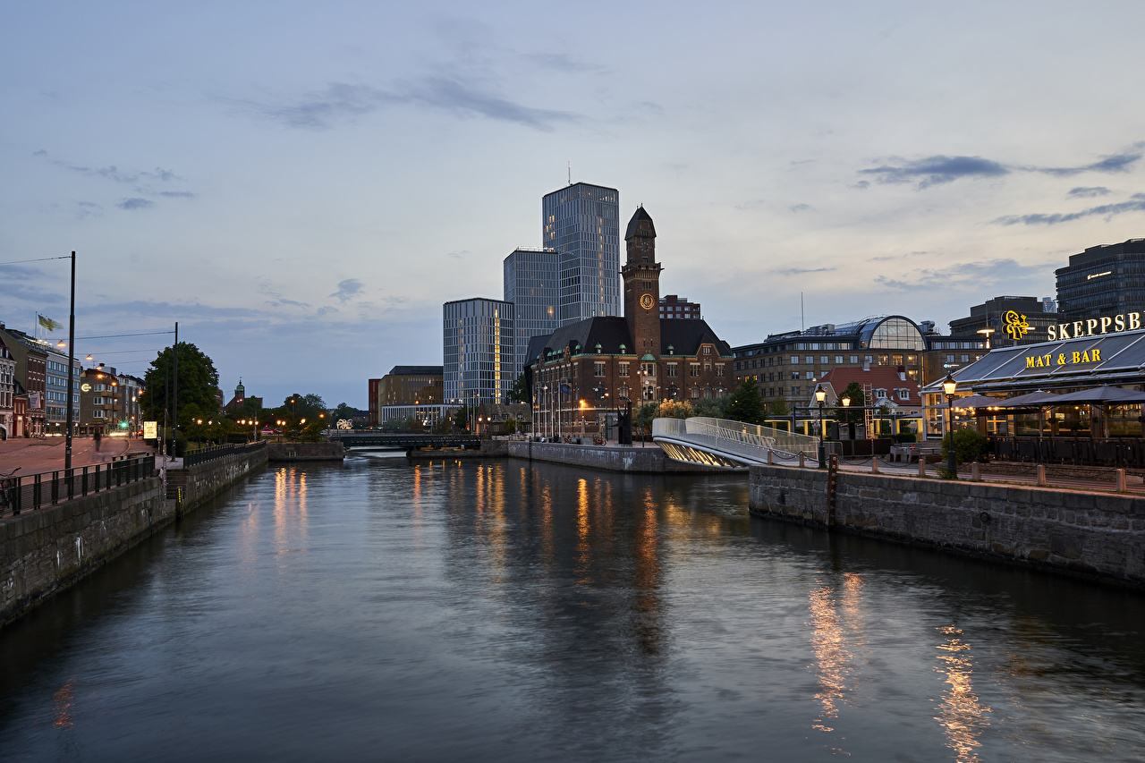 Photos Stockholm Sweden Canal Rivers Evening Cities Building river Houses