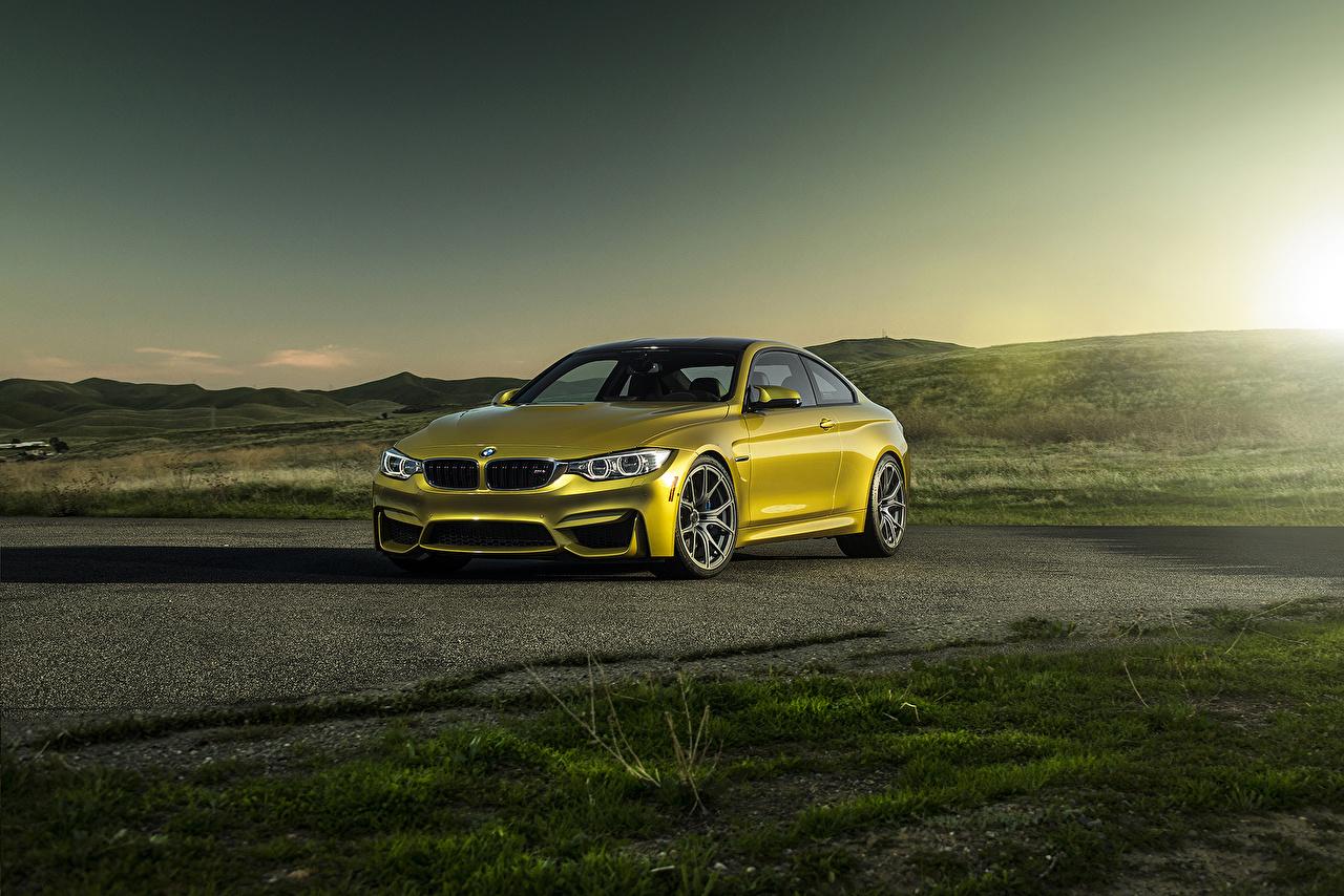 Photos BMW Tuning 2014 M4  F82 (Vorsteiner) Yellow auto Metallic Cars automobile