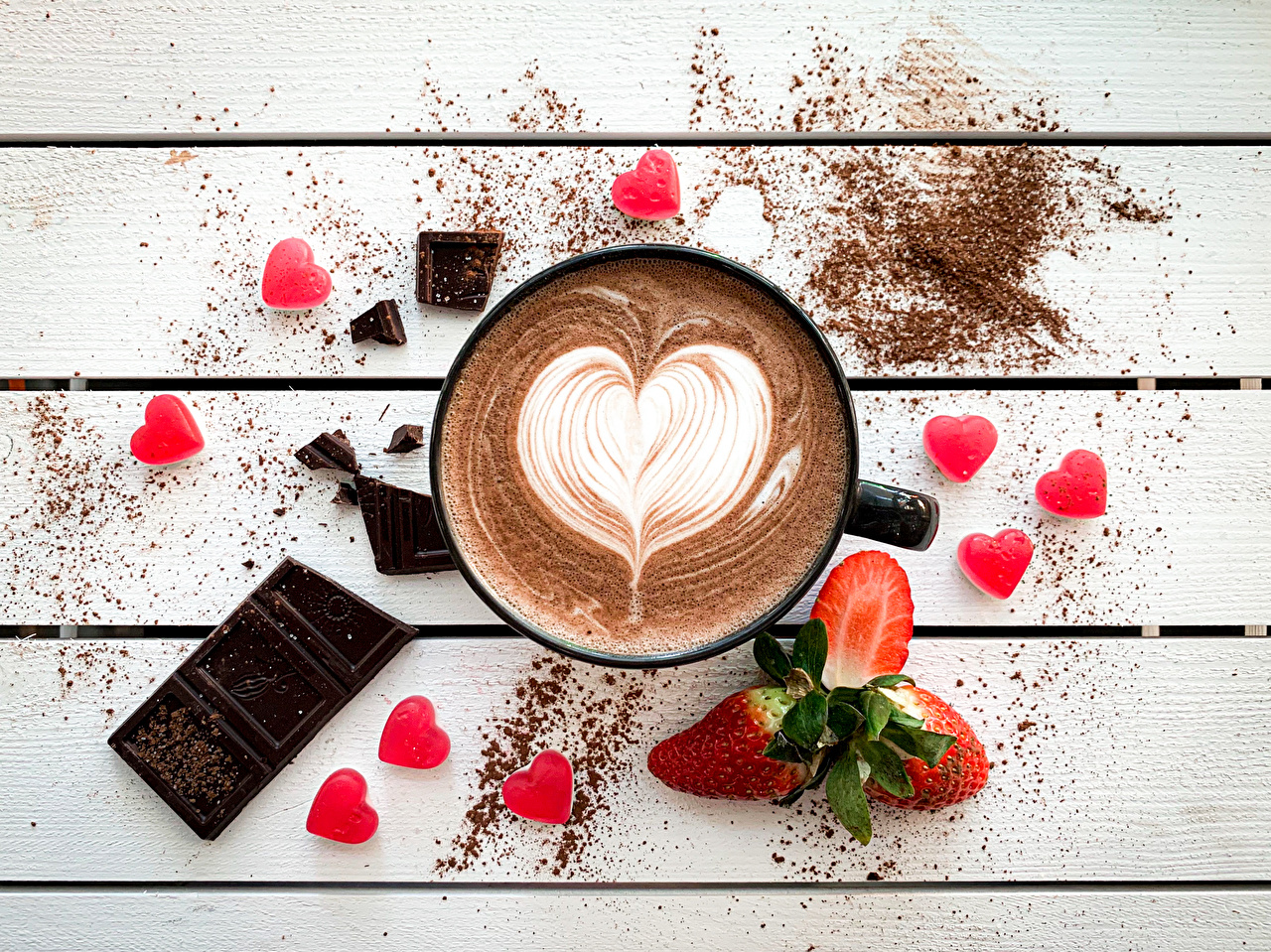 Images Heart Chocolate Coffee Strawberry Mug Food Berry boards Wood planks