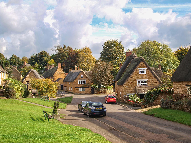 Bilder England Wroxton, Oxfordshire Väg Stadsgata Städer byggnader Små städer Gate vägar Hus stad byggnad