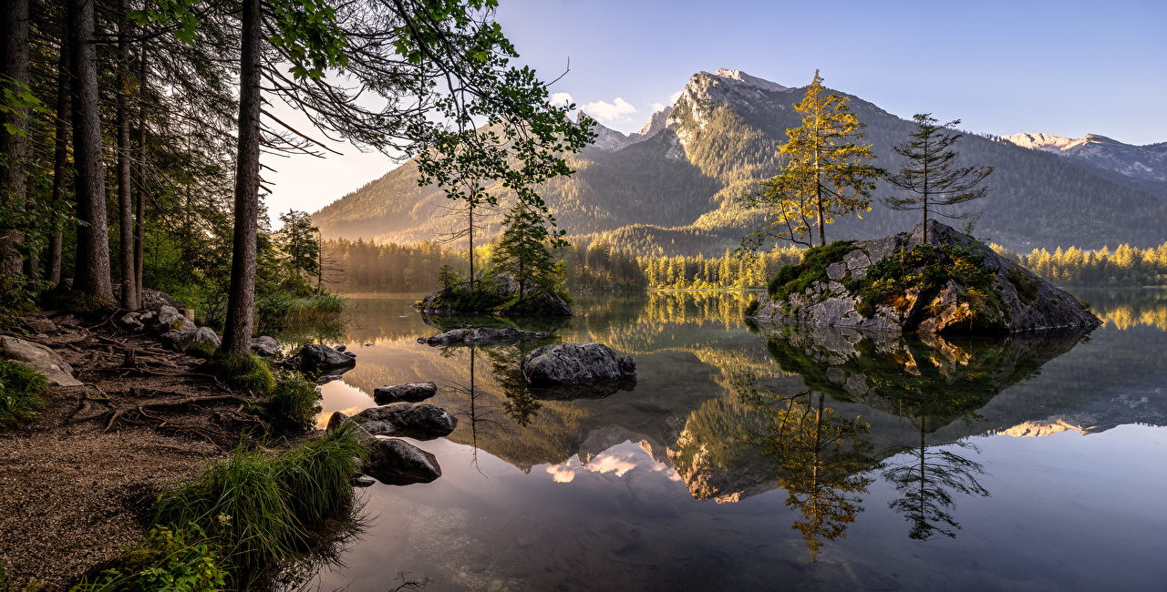 Photos Bavaria Alps Germany Nature mountain Lake Morning Mountains