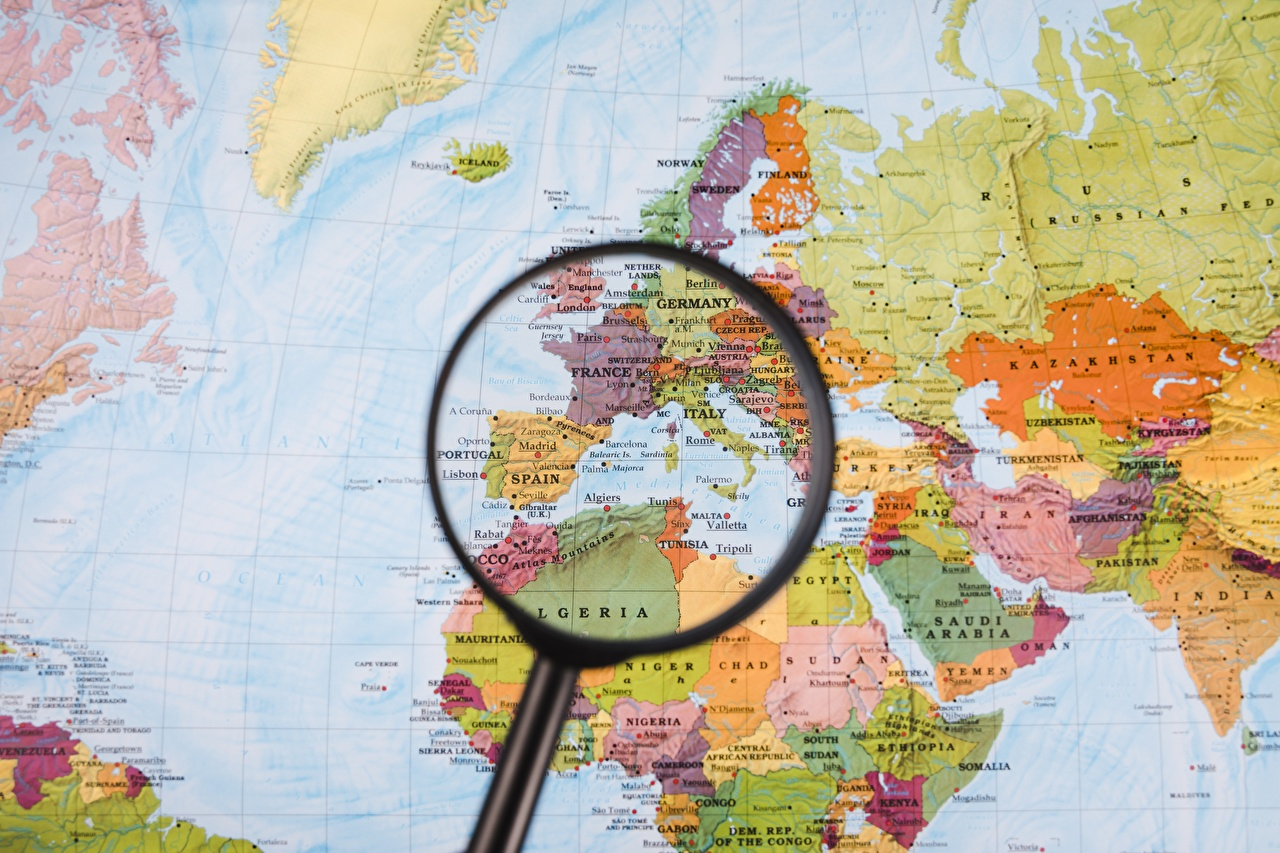Image Europe Africa Magnifying glass Map Geography Magnifier